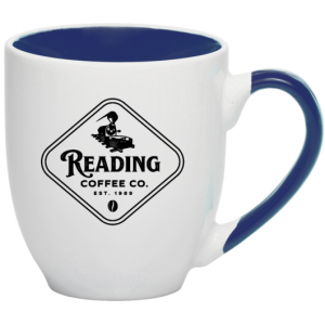 Reading Coffee 16 oz. Bistro Mug Two-Tone White & Black