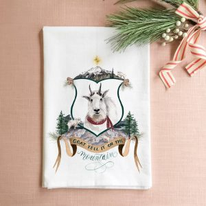 Goat Tell it On the Mountain Christmas Tea Towel